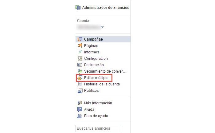 Editor múltiple de anuncios de Facebook