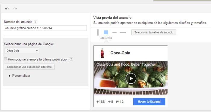 Configuración del anuncio de google plus