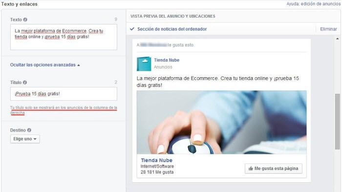 Configuración de textos y enlaces de anuncios de Facebook