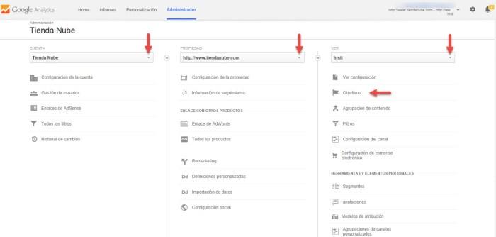 Cómo configurar objetivos en analytics