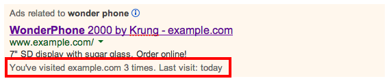 Anotaciones de visitas anteriores de Google AdWords