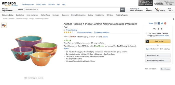 Llamado a la acción en página de producto de Amazon