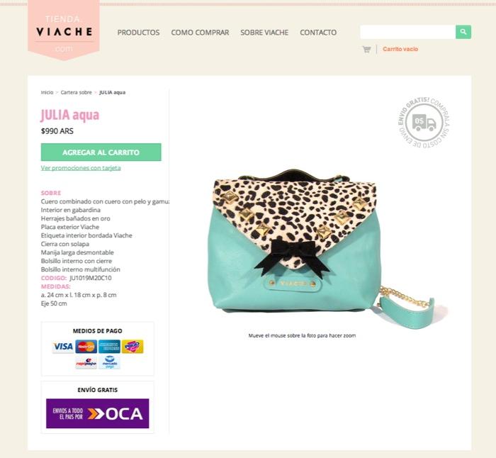 Página de producto de la tienda Viache