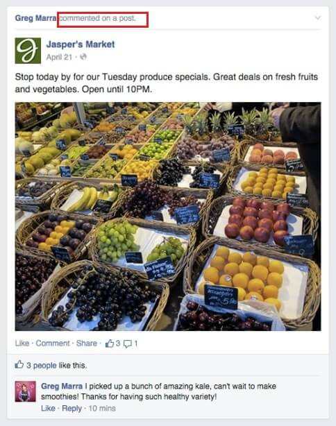 Comentarios de Facebook en el feed de noticias