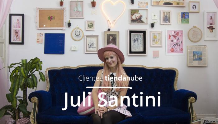 Juli Santini en su showroom de indumentaria