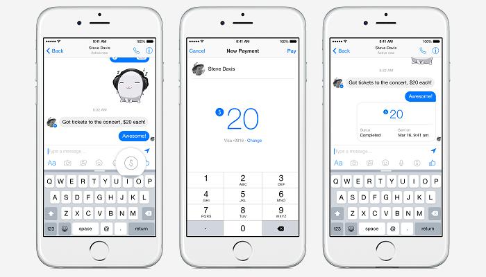 Envío de dinero a través de Facebook Messenger