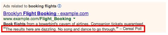 Extensiones de opiniones de Google AdWords