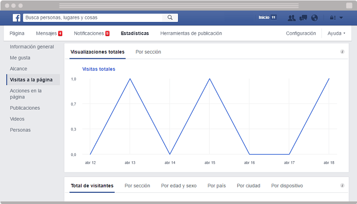 Facebook Insights Visitas