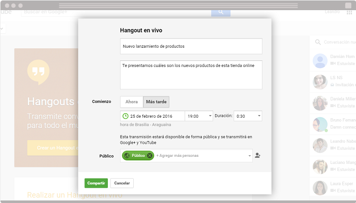 Hangouts on Air para tiendas online