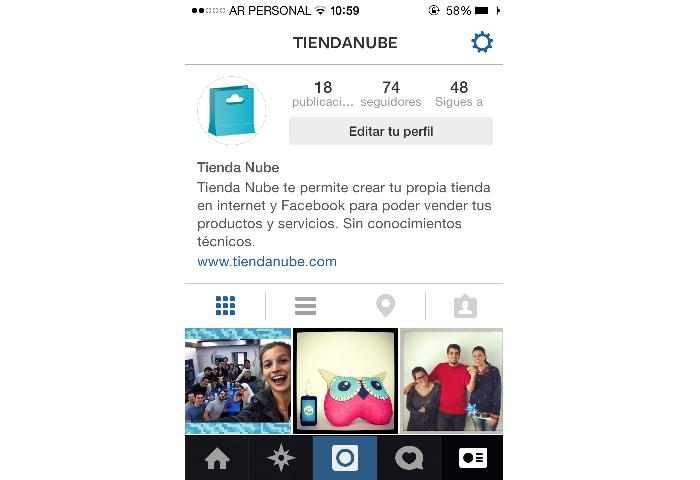 Perfil móvil del Instagram de Tienda Nube