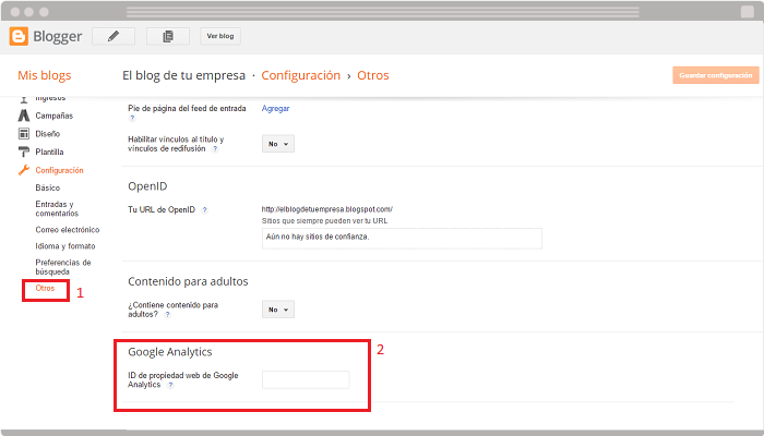 Integrar Google Analytics en Blogger