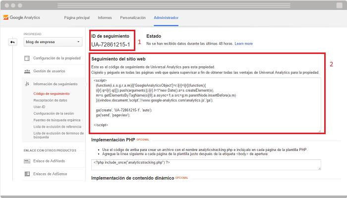 Integrar Google Analytics en web