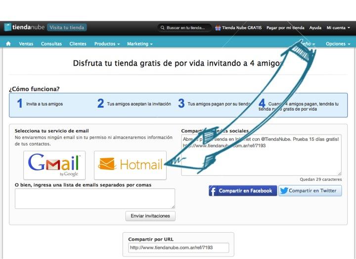 Invita a tus contactos de Gmail y Hotmail a Tienda Nube
