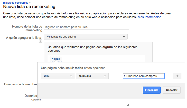 Lista de Remarketing por URL exacta