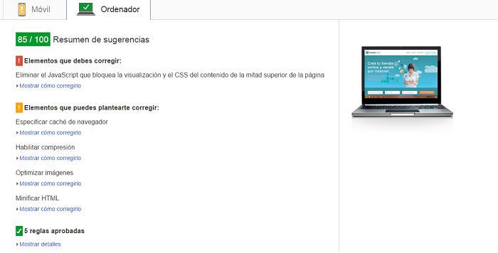 Mejorar el tiempo de carga con PageSpeed Insights