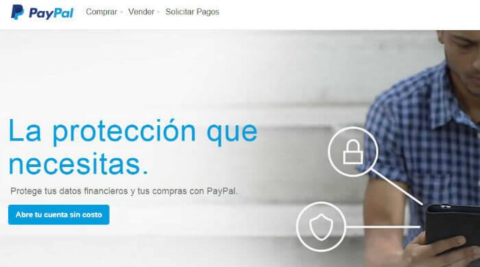 Ejemplo de landing page de PayPal