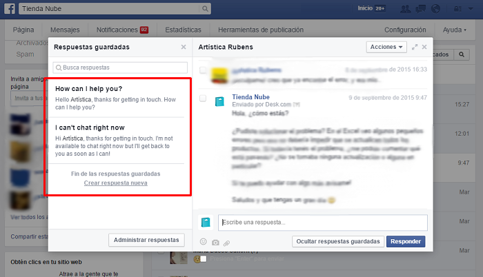 Responder mensajes de Facebook