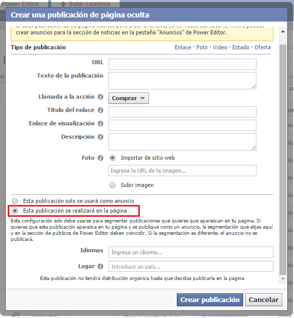 Crear un call to action en tus publicaciones de Facebook