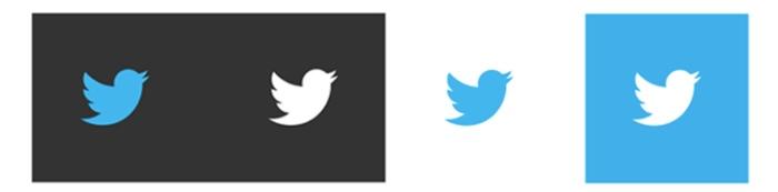Logos de Twitter en distintos colores