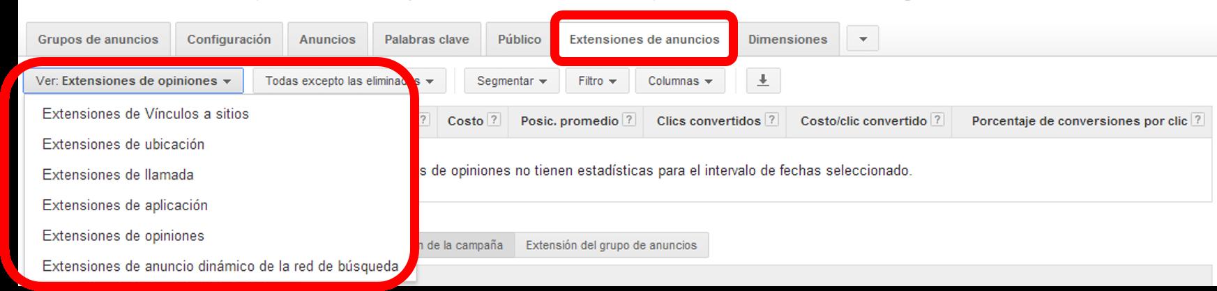 Ver tipos de Extensions de Anuncios de Google AdWords