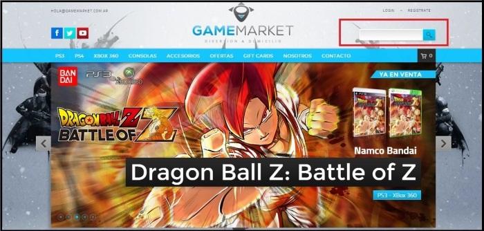 Ejemplo de barra de búsqueda de Game Market