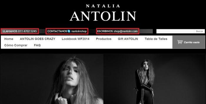 Ejemplo de datos de contacto visibles de la tienda Natalia Antolin