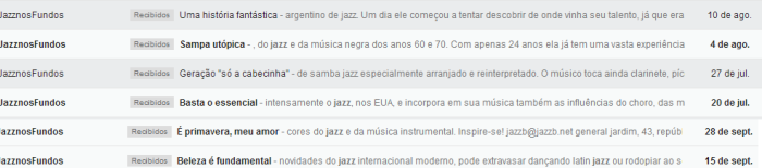 Ejemplo de email de Jazz nos Fundos