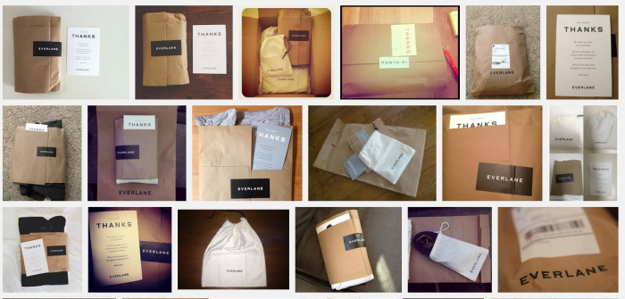 Ejemplo de packaging de Everlane