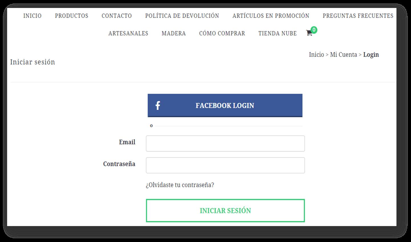 Así es como se verá el login via Facebook en tu tienda
