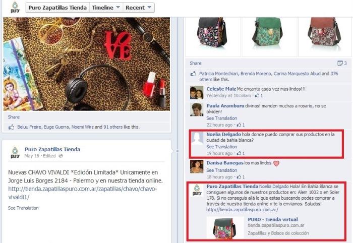 Ejemplo del facebook de Zapatillas Puro