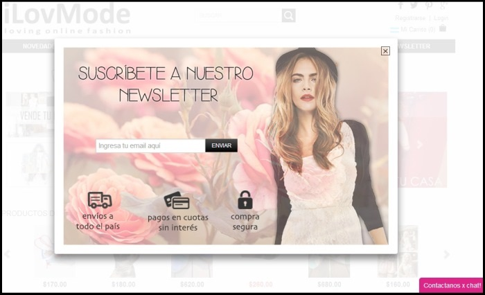 Ejemplo de invitación a suscripción al newsletter de iLoveMode