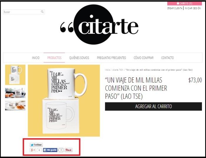 Ejemplo de botones de redes sociales en la página de producto de la tienda Citarte