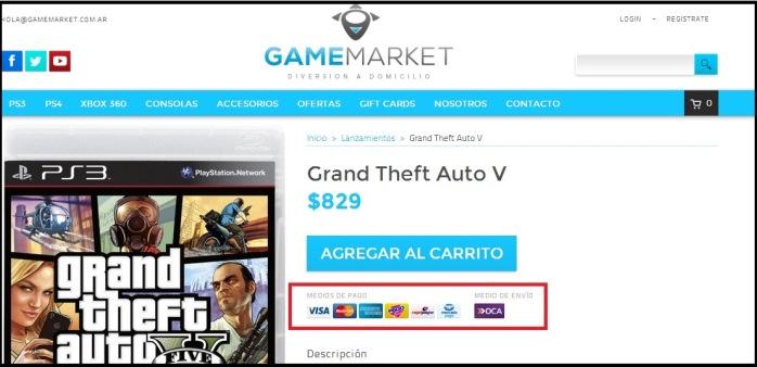 Ejemplo de información de pago en página de producto de Game Market