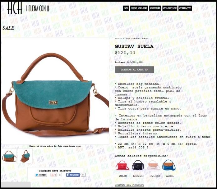 Ejemplo de descripción detallada del producto de la tienda Helena con H