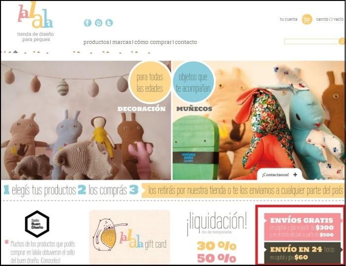 Ejemplo de información de pago y envío de LaLaLa