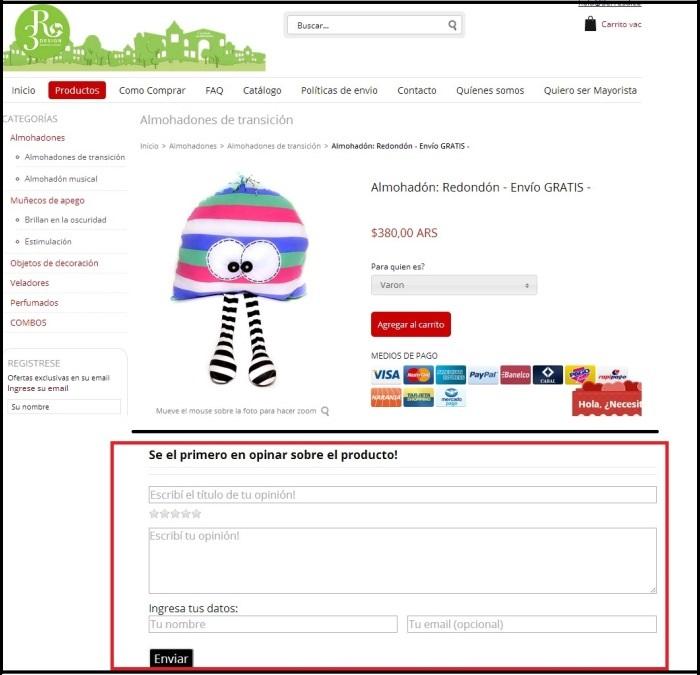 Ejemplo de la tienda 3R con la aplicación Opinones Nube para testimonios de clientes