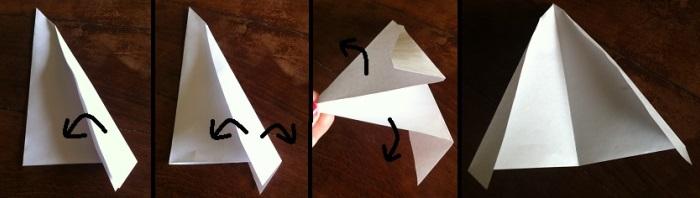 Paso 2 para armar tarjeta navideña con árbol blanco en relieve