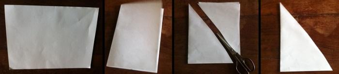 Paso 1 para armar tarjeta navideña con árbol blanco