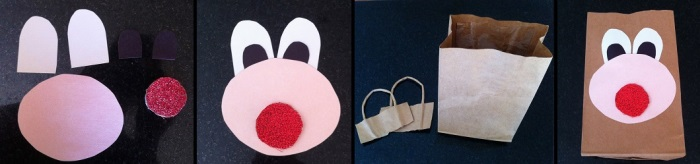 Paso 1 para armar packaging con cara de reno