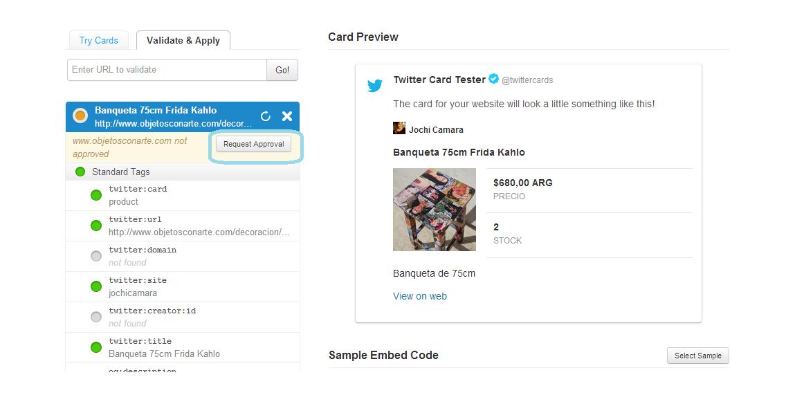Validar Twitter Product Cards - Pedido de URL