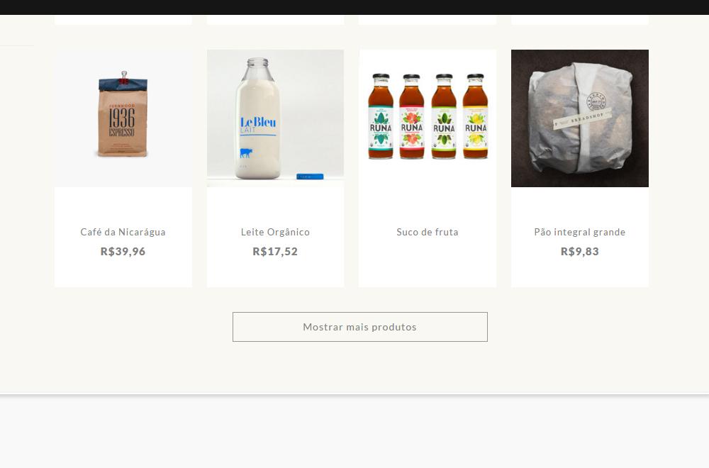 Botão Mostrar mais produtos - Layout Nuvem Shop