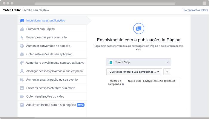 Anúncio Envolvimento com a publicação Facebook