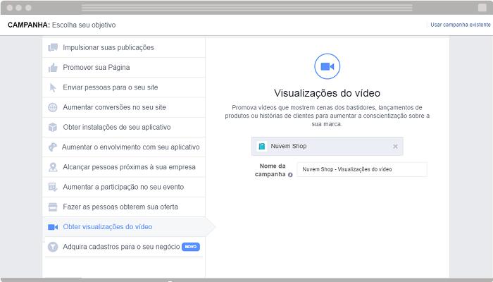 Anúncio Obter visualizações do vídeo Facebook