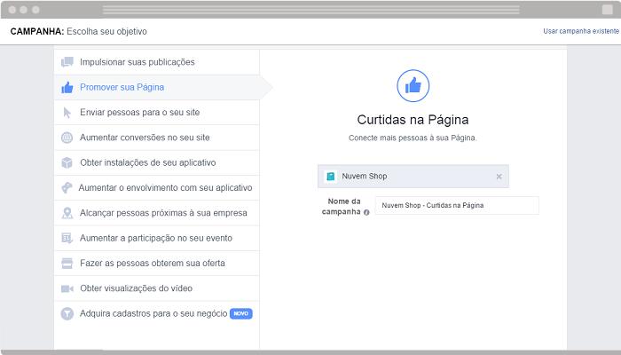 Anúncio Promover sua página Facebook