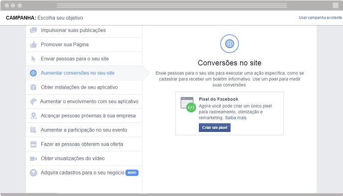 Anúncio Conversões no site Facebook