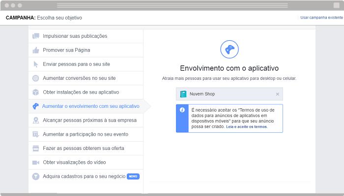 Anúncio Aumentar o envolvimento com seu aplicativo Facebook