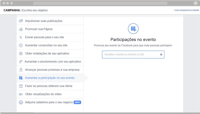 Anúncio Aumentar a participação no seu evento Facebook