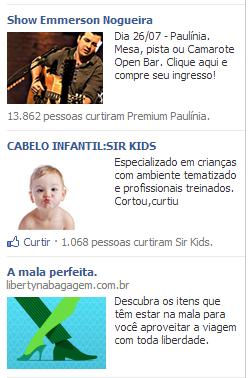 Anúncio na lateral esquerda Facebook