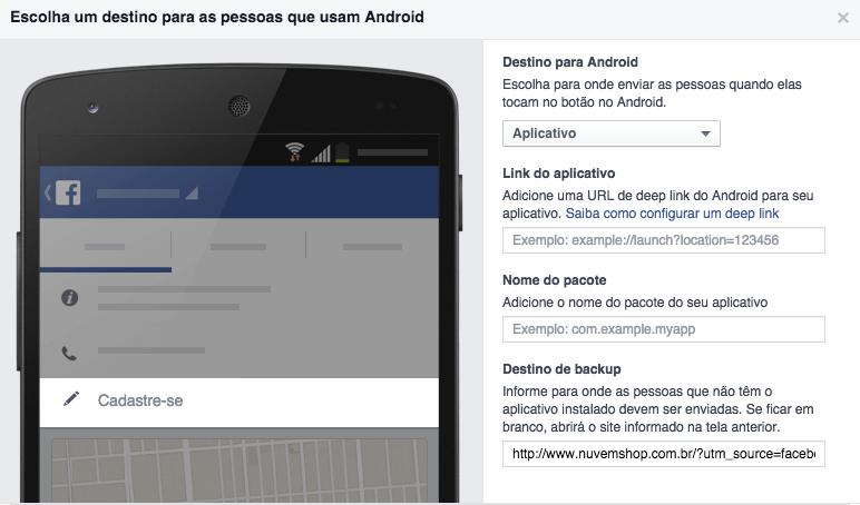 Configurando botão de CTA para android e iOS