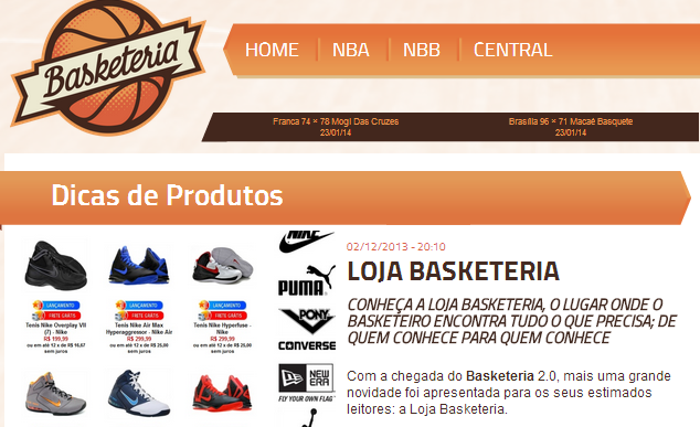 Diferencial de marketing da Loja Basketeria